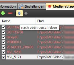 Screenshot media tray proDAD video