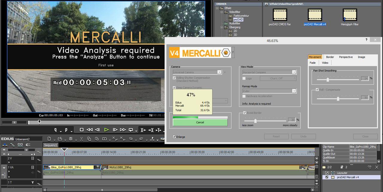 proDAD Mercalli V4 EDIUS: Stabilizer+CMOS Correction Plugin for EDIUS