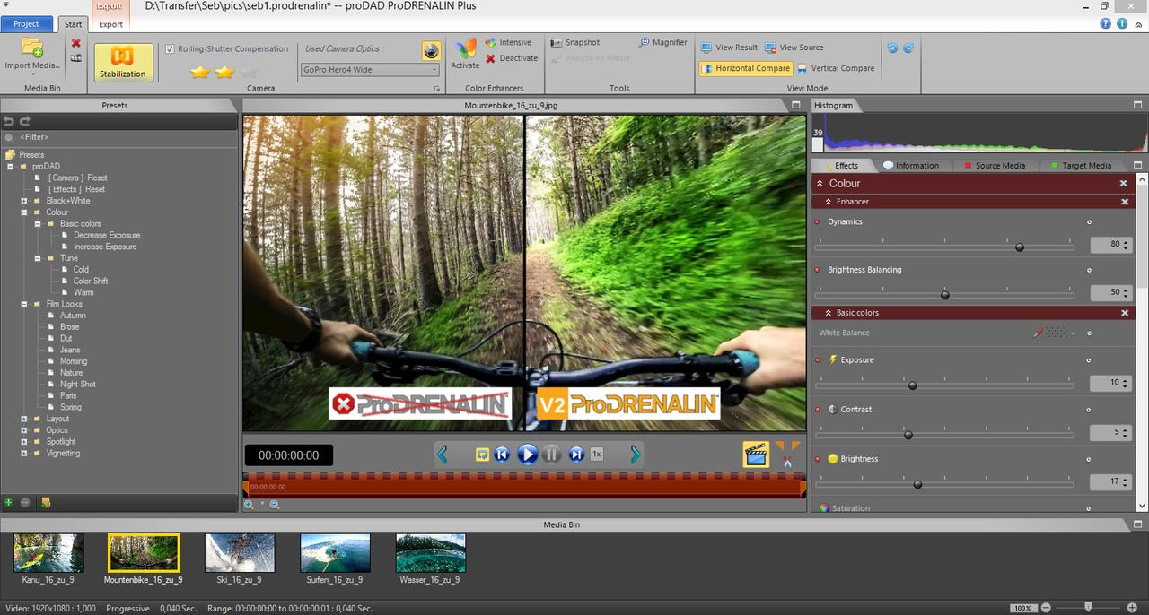 Editing action cam videos with ProDRENALIN V2 Plus